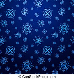 Seamless dark blue Christmas background with snowflakes .