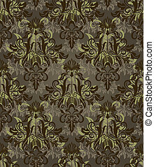 Seamless dark brown and green retro vector pattern.