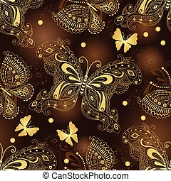 Seamless dark brown pattern with gold butterflies and...