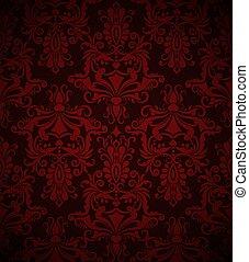 Seamless dark red vintage vector wallpaper pattern.