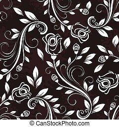 Seamless dark rose floral vintage vector pattern.
