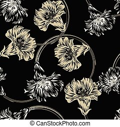 Seamless dark vector flower wallpaper