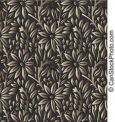 Seamless dark vector leaves wallpaper