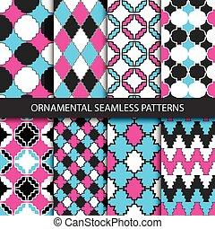 seamless., decoratief, -, kleurrijke, motieven