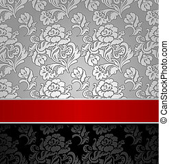 seamless decorative background silver with a red ribbon