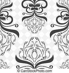 Seamless decorative black and white flower pattern.