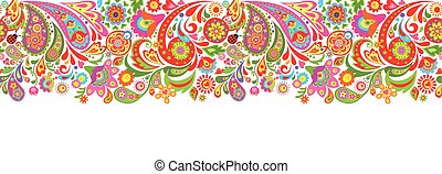 Seamless decorative border with abstract colorful flowers...