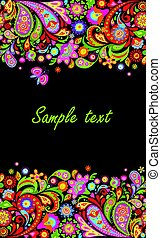 Seamless decorative border with colorful abstract flowers print on black background