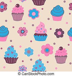 Seamless decorative cute ornament with multi-colored cupcakes