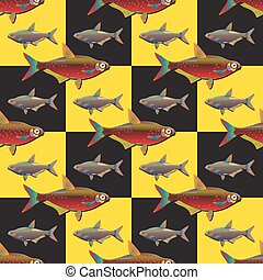 Seamless decorative fish background set.