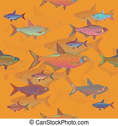 Seamless decorative fish background set.