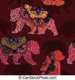 Seamless decorative pattern with bear
