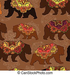 Seamless decorative pattern with circus bears