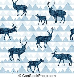 Seamless decorative pattern with deers