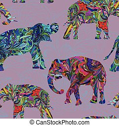Seamless decorative pattern with elephants