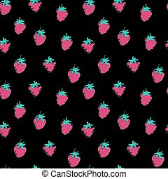 Seamless decorative pattern with strawberries on a black background