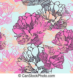 Seamless decorative pattern with tulips and butterflies. Vector illustration.