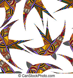 Seamless decorative tribal pattern with swallows. Vector...