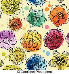 Seamless decorative watercolor pattern with hand drawn flowers