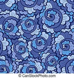 Seamless decorative wavy pattern bright blue
