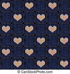 Seamless Denim & Plaid Hearts