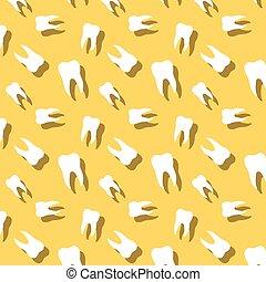 seamless, dentes, com, sombra, odontologia, padrão