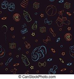 seamless, desenhado, vetorial, ilustração, bebê, padrão, mão, items., cuidado