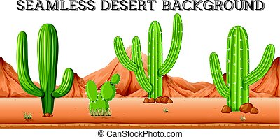 Seamless desert background with cactus plants