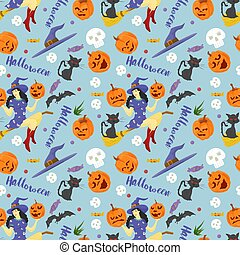 seamless pattern, for decoration design, for all saints eve Halloween, Witch flying on a broom, black cat, pumpkins and lettering, flat vector illustration