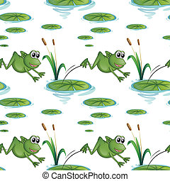 Illustration of a seamless design with frogs at the pond on a white background