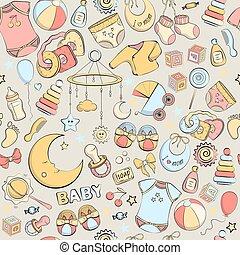 seamless, dessiné, vecteur, illustration, bébé, modèle, main, items., soin