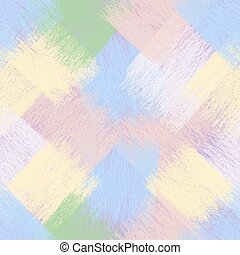 Seamless diagona weavel pattern with grunge striped wavy lace square elements in pastel colors