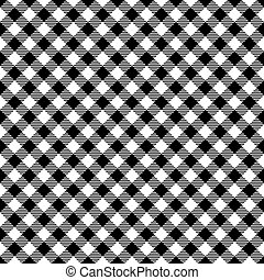 Seamless diagonal black gingham pattern background