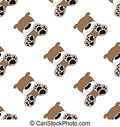 Seamless diagonal pattern with cartoon puppy