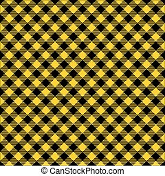 Seamless diagonal yellow and black gingham pattern background