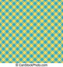 Seamless diagonal yellow and blue gingham pattern background