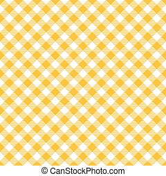 Seamless diagonal yellow gingham pattern background