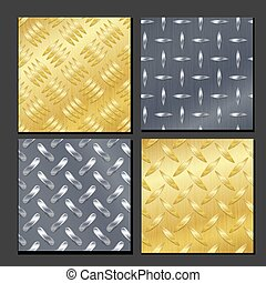 Seamless Diamond Metal Background Set With Tread Plate. Gold, Chrome, Silver, Steel, Aluminum. Vector Realistic Pattern.