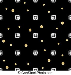 seamless diamond with gold dot glitter pattern on black background
