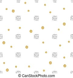 seamless diamond with gold dot glitter pattern on white background