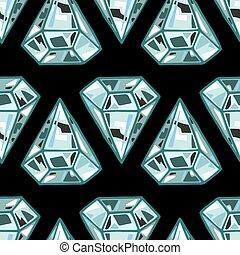 Seamless diamonds, gemstones on black background. Jewels pattern