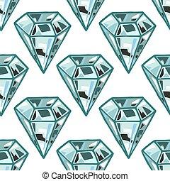 Seamless diamonds, gemstones on white background. Jewels pattern