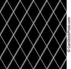 Seamless diamonds pattern. White geometric texture on black background.