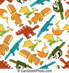 Seamless dinosaurs and prehistoric animals pattern