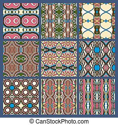 seamless dirty dark blue vintage geometric pattern - set of...