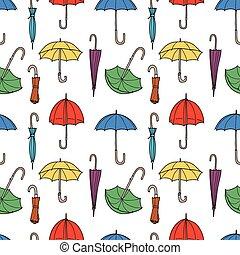 seamless, disegnato, ombrelli, modello, colorito