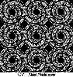 seamless, disegno spirale, fondo, monocromatico, movimento
