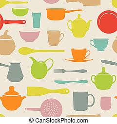 Retro Seamless with silhouettes dishes. Vector ...illustration.