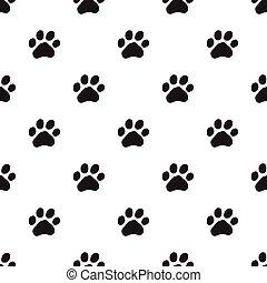 Seamless dog paw pattern on white