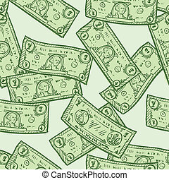 Seamless dollar bill background - Doodle style paper...
